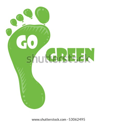 Going green concept. Green feet over white background with text - stock vector