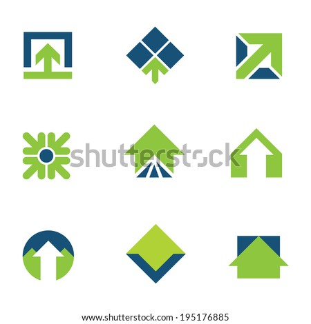 Going green for natural business success arrow up icon logo set - stock vector
