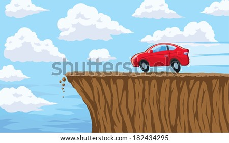 Going over a cliff - stock vector
