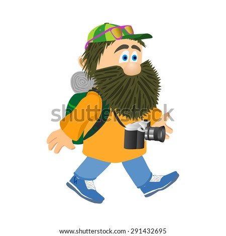 Going tourist with camera and backpack. Man with a beard. Vector illustration - stock vector