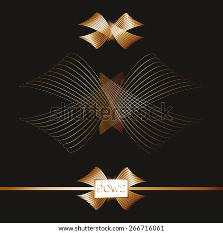 Gold abstract bow - stock vector