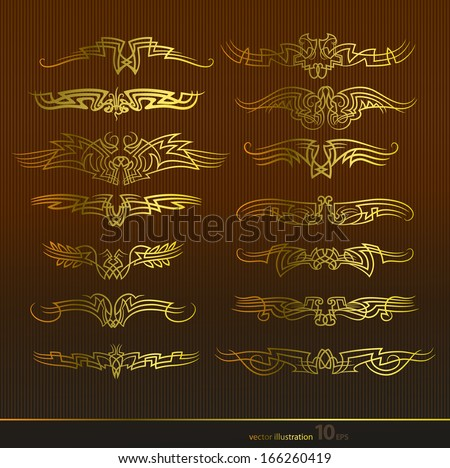 Gold abstract in the form of wings image - stock vector