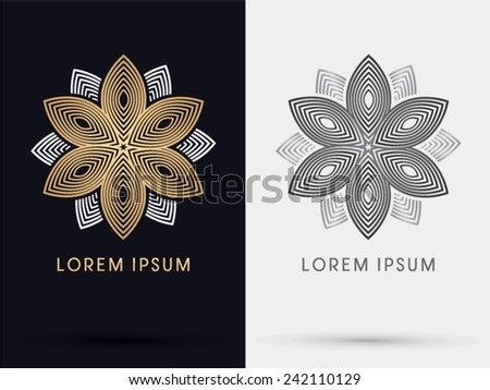 Gold abstract lotus logo, symbol, icon, graphic, vector. - stock vector
