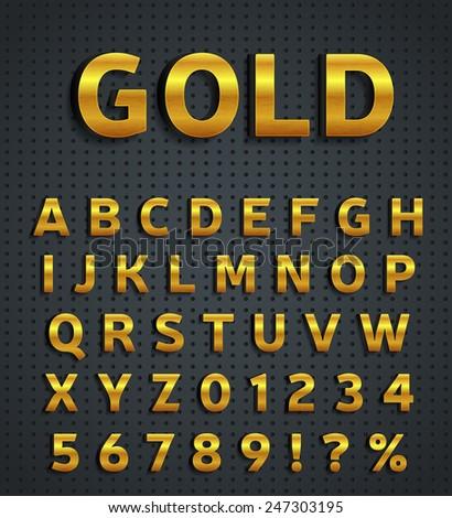 Gold alphabet set - stock vector