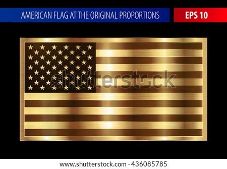 Gold American flag in a metallic frame - stock vector