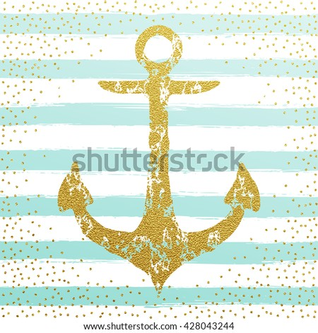 Gold Anchor Background With Blue Stripes Nautical Design Vector Illustration Nordic Marine Concept
