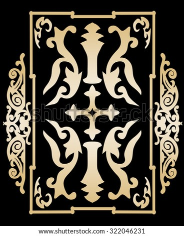 Gold ancient vintage ornament on black background in style of victorian shield with a cross. Vector illustration - stock vector