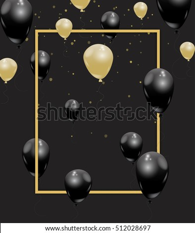 Gold black elegant vector balloons realistic stock photo photo gold and black elegant vector balloons realistic beautiful celebration concept with confetti gold frame stopboris Gallery