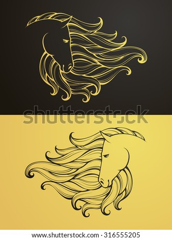 Gold and black horse icon. Linear graphic stylized animal vector illustration. Horse head with mane can be used as design for tattoo, t-shirt, bag, poster, postcard - stock vector
