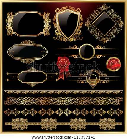 Gold and black labels with design elements - stock vector