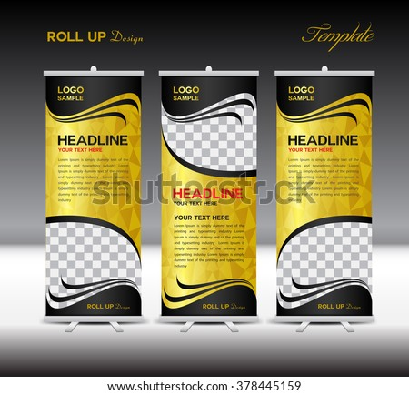 Gold and black Roll Up Banner template vector illustration,polygon background,banner design,standy template,roll up display,advertisement,Roll up banner, Yellow  background - stock vector