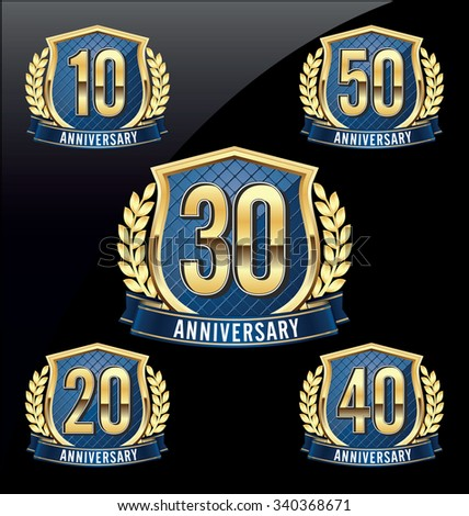 Gold and Blue Anniversary Badge  10th, 20th, 30th, 40th, 50th Years