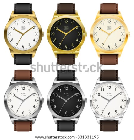 Gold and chrome watches, six classic design expensive watch set. Vector illustration. - stock vector