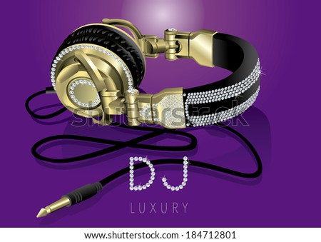 gold and luxury headphones exclusive and stylish diamond - stock vector