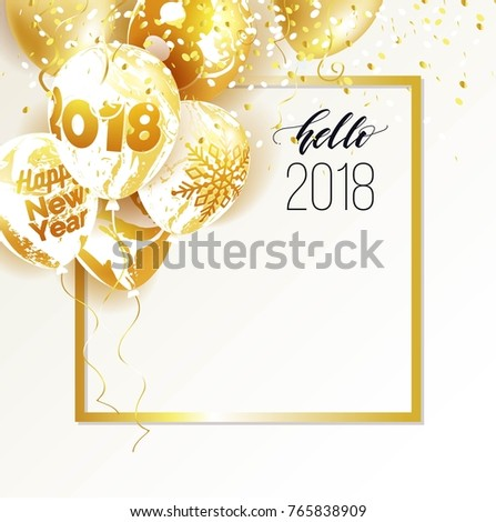 Gold and marble 2018 balloons. Hello 2018 new year and christmas celebration background. Vector illustration