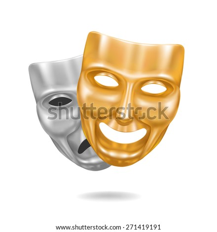 Gold and metal theater masks expression - stock vector