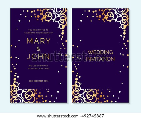 Gold Purple Design Layout Wedding Invitation Stock Vector HD - Save the date flyer template