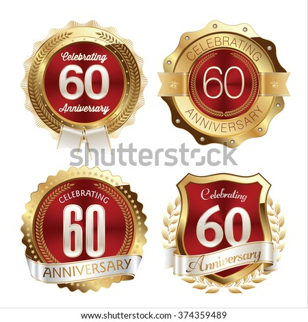 Gold and Red Anniversary Badges 60th Years Celebration