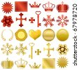 Gold and red design ornaments set. Illustration vector. - stock vector