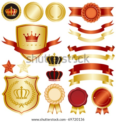 gold and red emblem set - stock vector