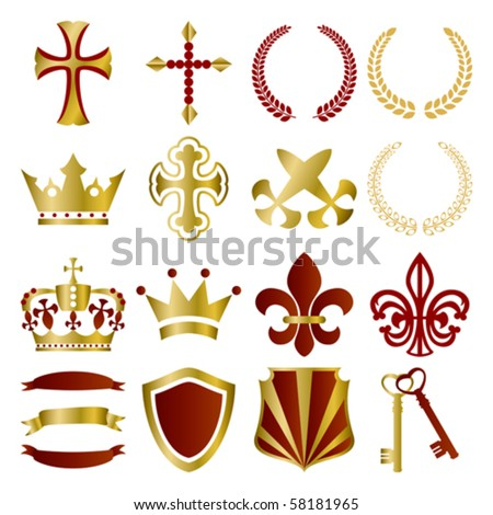 Gold and red ornaments set. Illustration vector. - stock vector
