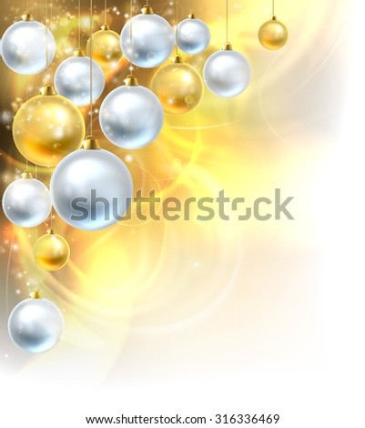 Gold and silver abstract Christmas bauble decoration ornaments festive design corner background. Fades to white at the bottom and side for easy use as border corner frame design or header.  - stock vector