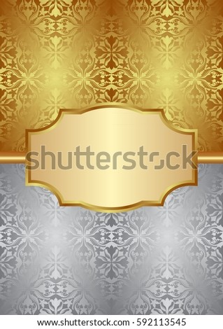gold and silver background with old-fashioned patterns and elegant frame