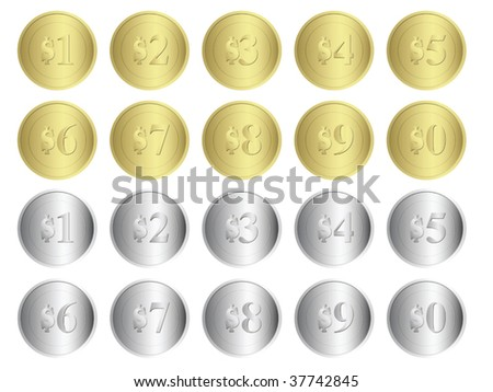 Gold and Silver Coins. Vector set. - stock vector