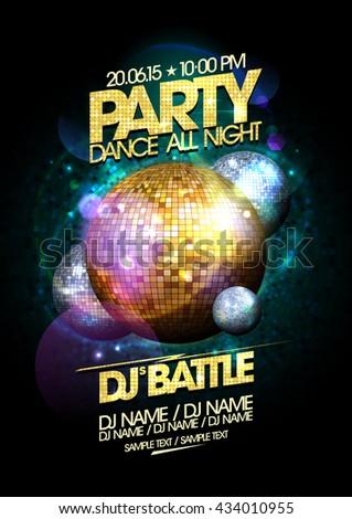 Gold and silver disco balls dance party design. - stock vector