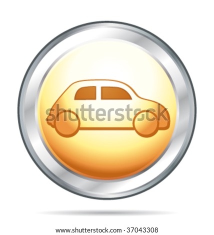 Gold and silver glass button with car symbol. Vector illustration. - stock vector