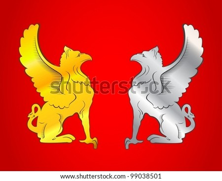 gold and silver griffins on the red background - stock vector