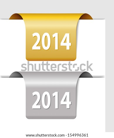Gold and silver 2014 labels - two Stickers on the edge of the page