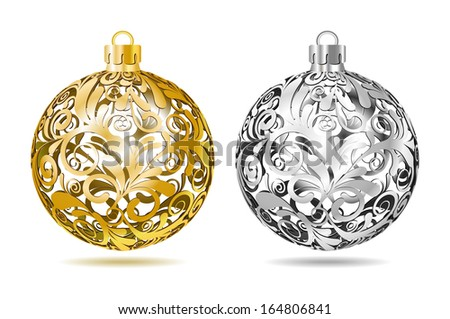 Gold and silver Openwork Christmas balls on white background. Vector illustration. - stock vector