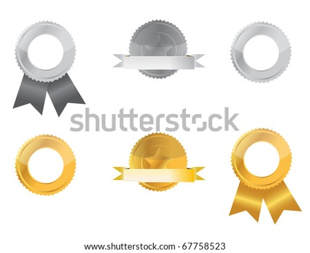 Gold and Silver seals isolated over a white background.