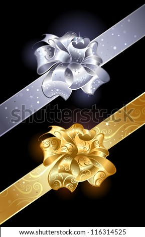 gold and silver, shiny bow on a dark background. - stock vector