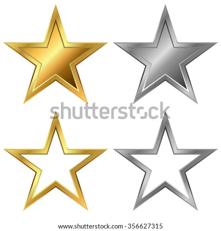 Gold and silver stars vector template isolated on white background. - stock vector