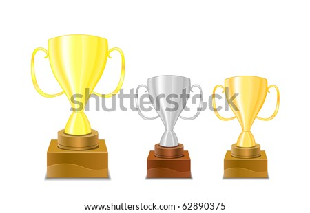 gold and silver trophy cups. icon set isolated on white - stock vector