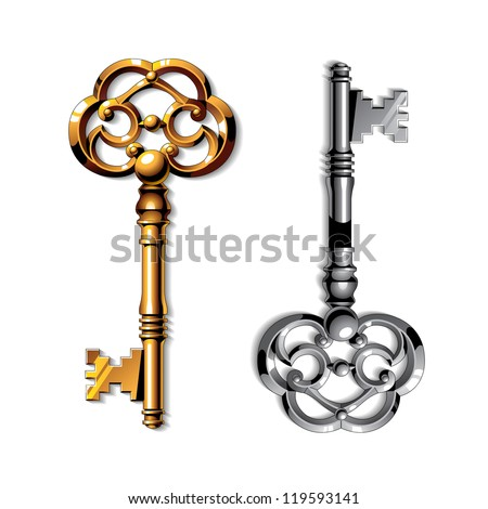 Gold and silver vintage isolated keys