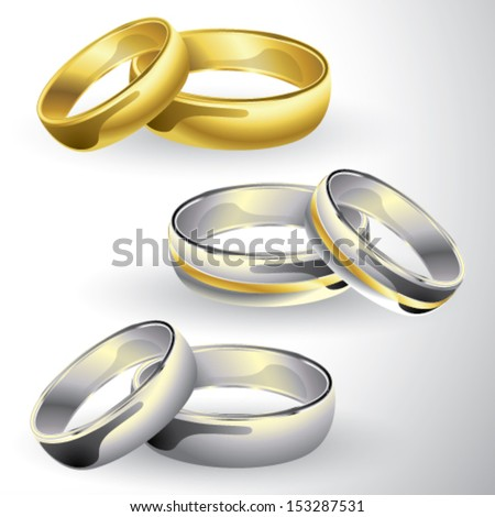 Gold and silver wedding rings in pair - stock vector