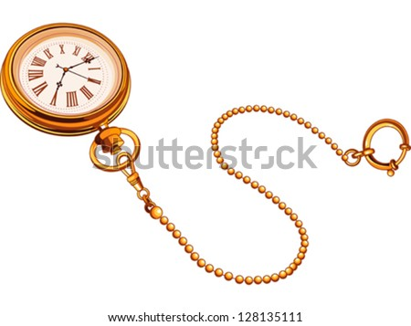 Gold antique pocket watches - stock vector