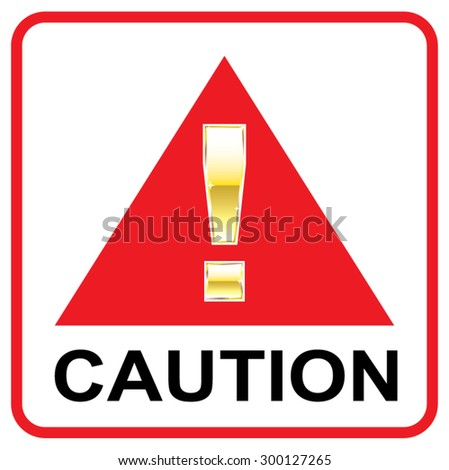 Gold Attention mark on red sign Caution vector triangle