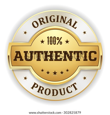 Gold authentic product badge on white background - stock vector