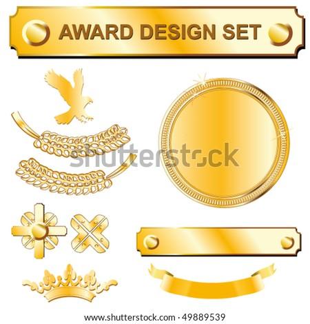 gold award design set - stock vector