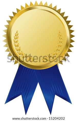 gold award ribbons - stock vector