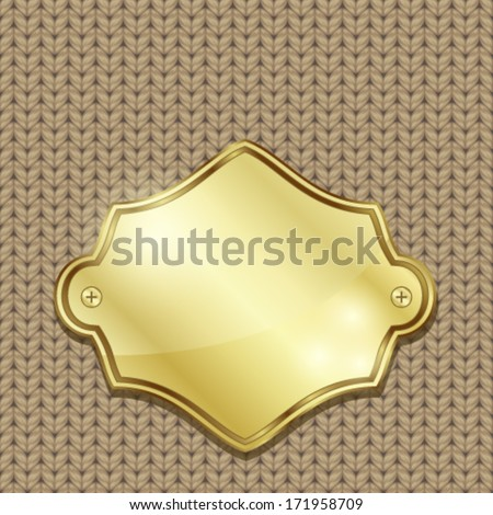 Gold badge over seamless knitted texture