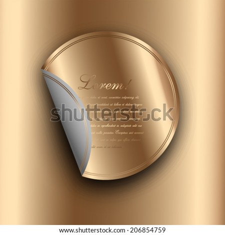 Gold badge with round corner - stock vector