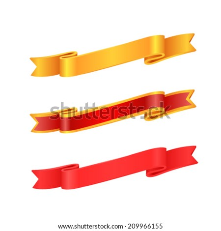 Gold banner set on red background. - stock vector