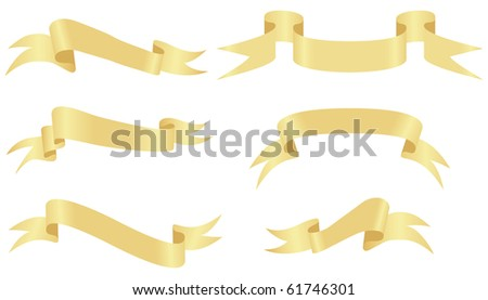 Gold banners isolated on a white background. Vector illustration - stock vector