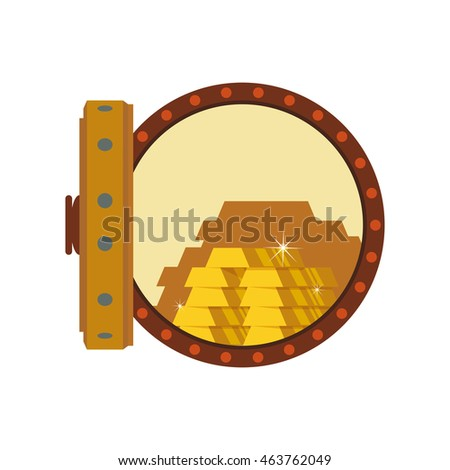 Gold bar block strongbox treasure icon. Isolated and flat illustration. Vector graphic