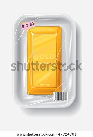 Gold bar in plastic container, vector illustration - stock vector